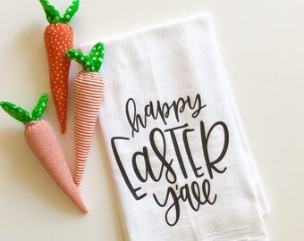 happy Easter y'all, flour sack tea towel, easter decor, newlywed gift, kitchen decor, spring