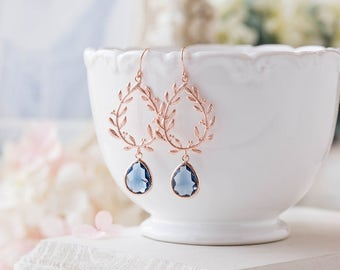 Rose Gold Sapphire Navy Blue Earrings, Rose Gold Wedding Bridal Earrings, Navy Blue Wedding Jewelry, Bridesmaid Earrings, Wreath Earrings