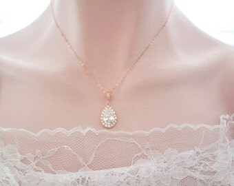 Gold Cubic zirconia necklace, Gold bridal necklace, Gold filled chain, High quality, Teardrop, Wedding necklace ~ Gold wedding jewelry
