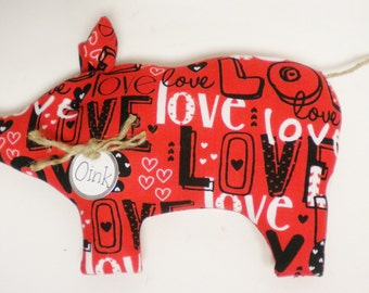 Love Pig - Made To Order, Valentine's Day Decor, Primitive Animals, Country Decor, Primitive Pigs