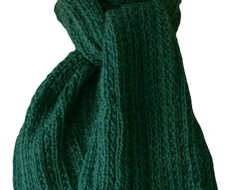 Hand Knit Scarf - Forest Green Mohair Wool Trail Rib