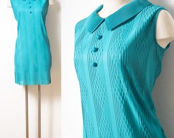 Mod Dress, 60s Dress, 60s mod dress, Vintage teal dress, Vintage green Dress, Mad Men Dress, Vintage Sleeveless Dress, Mod 60s Dress - M/L