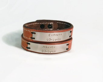 Forever & Always Couples Leather Bracelet set, Personalized Hand stamped jewelry, His and Hers Leather Bracelet Set, Leather Bracelet