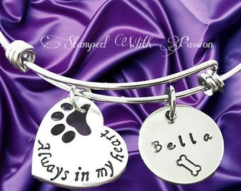 Pet Memorial bracelet, personalized pet name charm bracelet, Dog bangle, Dog Memory Bracelet, Pet Rememberence, Pet Jew