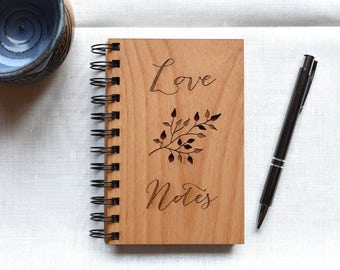 Wedding Love Notebook Wood. Wedding Gift for Couples. 5th Anniversary Gift Ideas for Wife, for Husband