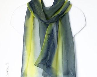 Handpainted silk scarf, Gray yellow silk, Hand dyed silk chiffon, Abstract gray silk scarf, Painted artist silk, Gray black yellow scarf