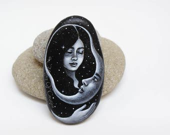Handpainted rock: Table decor or paperweight. Romantic painted stone, girl, crescent moon, and a starry night sky! Gift idea for moon lovers