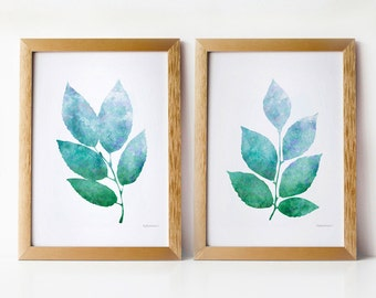 Leaves printable decor, Botanical print set, Nature prints wall art Home decor Nature art set, Blue green decor, Instant printable downloads