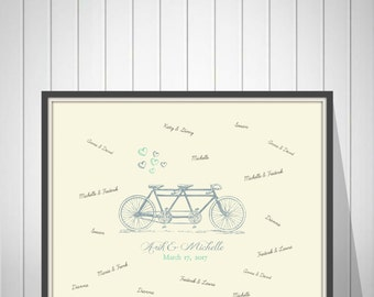 Tandem Bicycle Guest Book, Wedding Guestbook Poster, Unique Guest Book, Guest Book Alternative , Spring Wedding, Bike Wedding - 70577