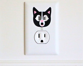 Black Cat - Electric Outlet Wall Art Sticker Decal