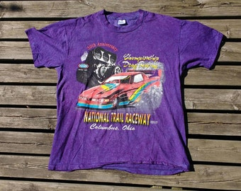 1995 Vintage National Trail Raceway, Columbus, Ohio purple tie dye t-shirt Made in USA large