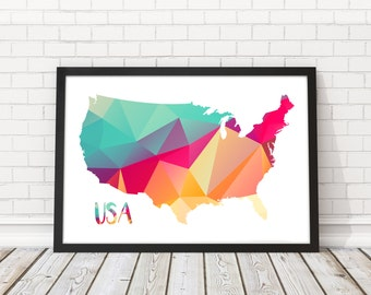 United States Map Art Abstract Usa Map United States Wall Art United States