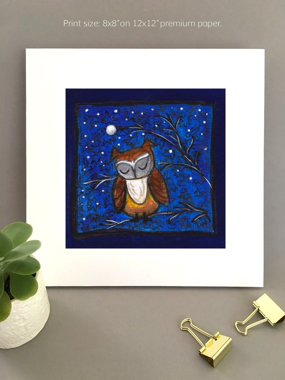 Night owl wall art, best valentine gift, Giclée print whimsical artwork painting with blue swirled sky, owl lover art, unique art for wife