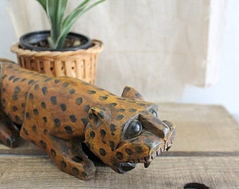 Vintage Mexican Folk Art Jaguar Cat Figurine