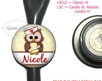 Stethoscope ID Tag, Personalized Nurse Owl, See Item Details Tab for Specific Models (Read Carefully), Littmann Stethoscope ID Tags