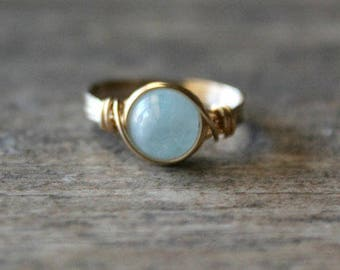 Aquamarine Ring 14k Gold Filled Aquamarine Ring Aquamarine Wire Wrapped Ring March Birthstone Aquamarine Ring Aquamarine Stone