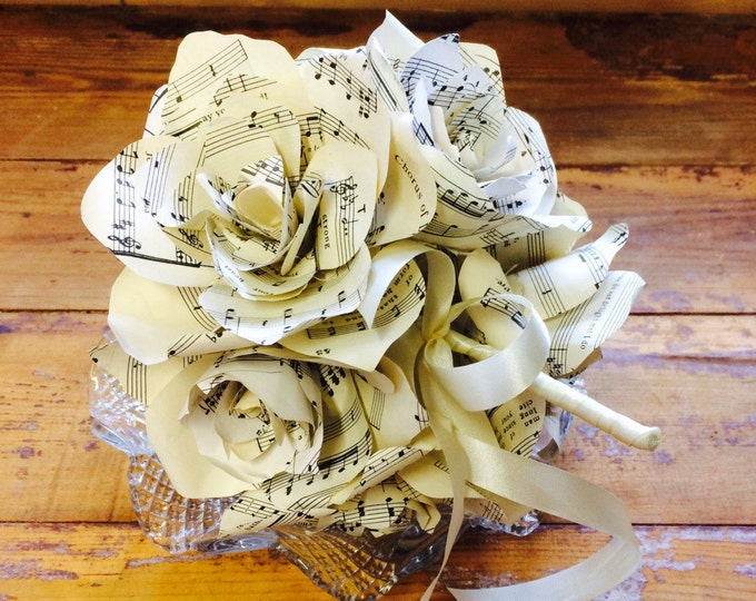 Featured listing image: Wedding Vintage Music Score Bouquet, Bridesmaids, Bride, First Dance Song, Valentines, Love , Marriage, Groom, Commission song, music script