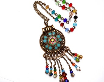 Colorful Beaded Boho Necklace Funky Bohemian Gypsy Jewelry FREE SHIPPING