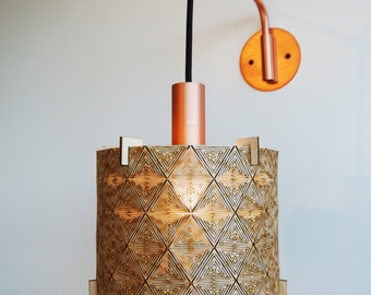 Wooden Lampshade - Geometric - Laser Cut Wood Lamp Shade - Plywood - Rustic - Handmade - Barrel - Drum