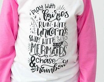 Fairy Shirt - Mermaid Shirt - Unicorn Shirt - Trendy Kids Tees - Girls Raglan Tshirt - Rainbow Tee - Fairies Mermaids Unicorns- Baseball Tee