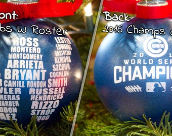 "Cubs W Ornament 4"", World Series Champions, MLB, Wrigley Field, Fly The W, Christmas Ornament, Chicago Cubs Roster"