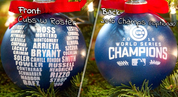 """Cubs W Ornament 4"""", World Series Champions, MLB, Wrigley Field, Fly The W, Christmas Ornament, Chicago Cubs Roster"""