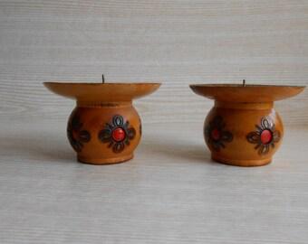 Set of 2 Vintage Wooden Candle Holders,Vintage Wood Candlesticks ,Wood Candleholders ,Table Décor, Rustic Lighting