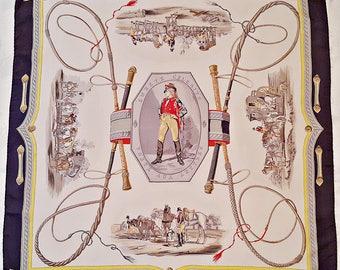 """Vintage Authentic Hermes Paris Surete Celerite Poste Aux Lettres 1957 Silk 34"""" Square Scarf"""