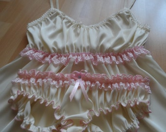 Set of ivory silk pink lace cami and ruffled panties