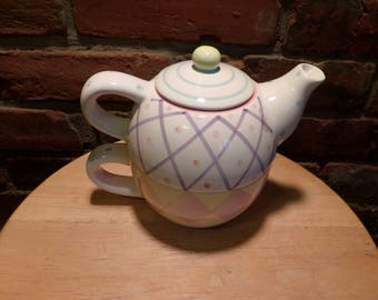 Three piece tea for one, tea for one, pastel teapot, teapot for one, gift for her