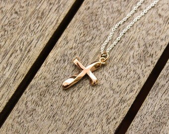 Unique 9k Rose Gold Baptism/Christening Cross Pendant (Chain Sold Separately)
