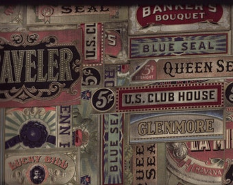 BTY Eclectic Elements CIGAR BOX Print 100% Cotton Quilt Crafting Tim Holtz Fabric by the Yard