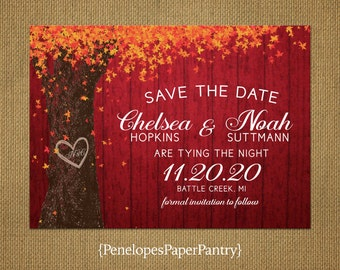 Rustic Fall Save The Date Card,Oak Tree,Carved Heart,Carved Initials,Autumn Leaves,Rustic Red Wood,Customize,Personalize,Printed Cards
