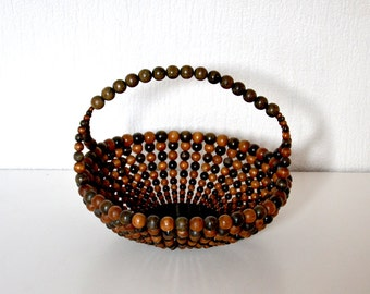 Vintage Wood Bead Bowl / wooden beads basket 60s