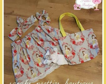 Handmade belle skirt and bag set age 4-6 yrs
