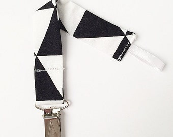Pacifier Clip - Paci Clip - Binky Clip -   Black White and Gold Geometric