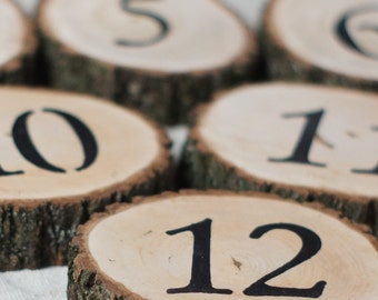 20 Wedding Table Numbers, Wedding reception decor, Custom Wedding, Log Slice Table Numbers, Rustic Wedding Table, Rustic Wood Slice Number
