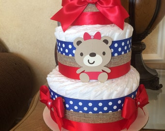 Teddy bear baby shower centerpiece/Baby Girl diaper cake/Newborn gift/Red and blue diaper cake