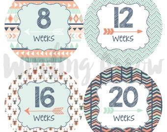Pregnancy Weekly Stickers Maternity Shirt Baby Bump Belly Photo Prop Growth Stickers Baby Boy Baby Girl Expecting Mom Baby Shower Milestone