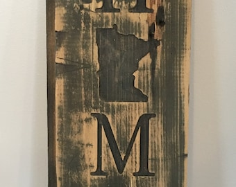 Reclaimed Home State Sign Vertical - Home Decor