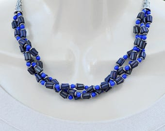 Blue Multi Strand Necklace and Earring Set.