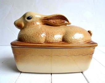 Large Vintage French Rabbit Hare Shaped Oven Proof Terrine Pate Dish