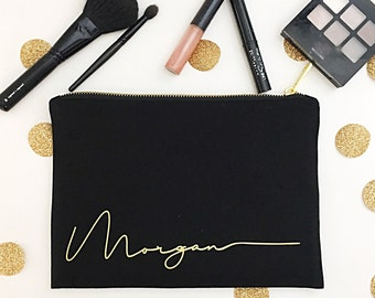 Personalized Cosmetic Bags, Black bag, Cosmetic Bags, Signature collection