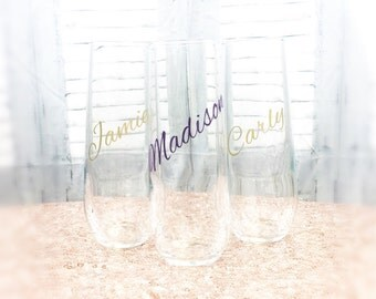 Wedding Champagne Glasses - Stemless Champagne Flutes Stemless Champagne Glass Stemless Champagne Glasses Personalized Champagne Flute EVJF