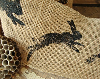 Natural Burlap Wired Ribbon with Hopping Bunnies