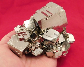 wOw A Huge! AAA PYRITE Crystal CUBE Cluster From the Huanzala Mine Peru 1505gr