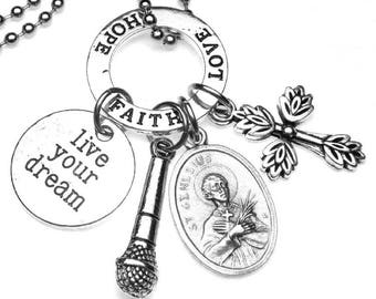 Singer & Entertainers Patron Saint Genesius Catholic Holy Medal and Charm Necklace, Christian Gift