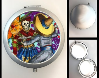 Compact Mirror Day of the Dead Skeletons Dancing
