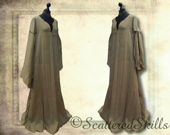 Medieval dress gown petticoat chemise kahki for LARP, fantasy in your size