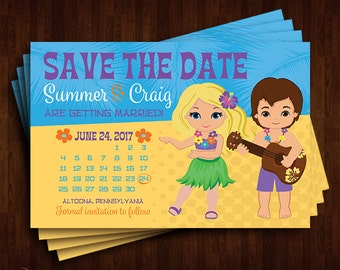 Hawaii, Beach, Luau Save the Date Announcement